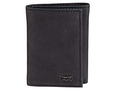 Levi's Men's Genuine Leather Trifold - Big Skinny Wallet with RFID Security for Credit Cards with 2 ID Windows, Black Stitch, One sizee