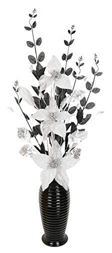 Silber und Weiß Künstliche Blumen Mit Schwarz Vase, Wohnaccessoires & Deko Geeignet für Bad, Schlafzimmer Oder Küche, 80cm groß