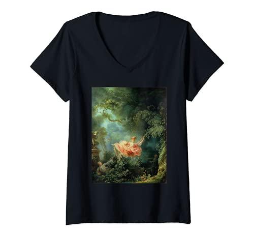 Damen Die glücklichen Unfälle der Schaukel von Jean-Honoré T-Shirt mit V-Ausschnitt
