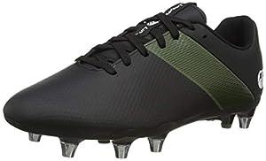 canterbury Men's Phoenix 3.0 Soft Ground Rugby Shoe, Black/Deep Lichen Green/White, 12 UK Medium by Canterbury