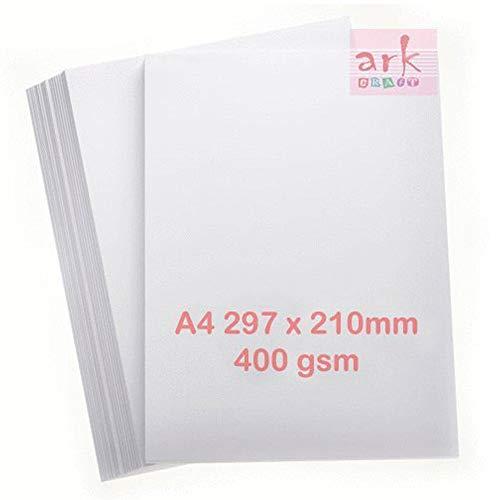 ARK - Carta da stampa super spessa, 400 g/mq, formato A4, 50 fogli, colore: Bianco