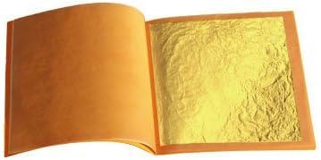 lot de 10 feuilles d'or pur alimentaire 43 mm X 43 mm 24 carats 100% veritable