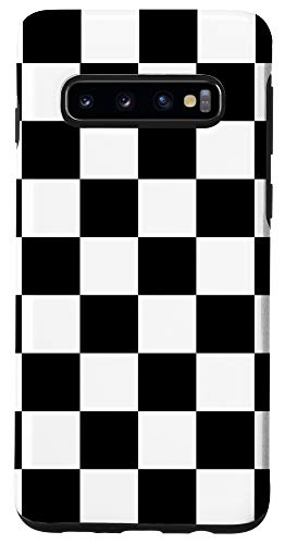 Galaxy S10 Black White Checkerboard Cool Gingham Checkered Lover Gift Case