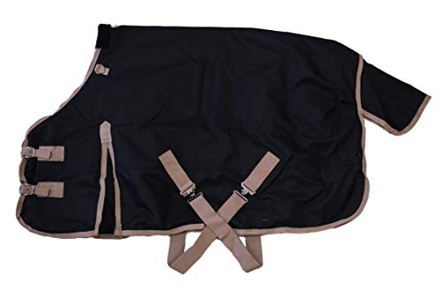AJ Tack Wholesale Pony Horse 1200D Turnout Blanket Rip Stop Water Proof Medium Weight Black 50