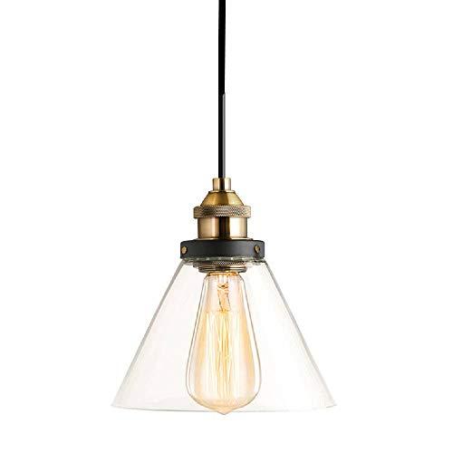 SISVIV Lámpara Colgante Luz Techo Vintage Industrial Cristal E27 Color Transparente para Cocina Comedor Tienda