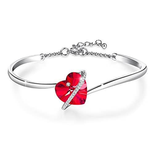 GEORGE · SMITH ❤️Histoire d'amour❤️ Bracelet Argent Femme Bracelet Coeur Femme avec Cristal Bleu, Bracelet Or Rose Bracelet Maman Cadeau Anniversaire Femme