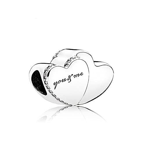 Pandora Fashion 925 Charm Original Alloy Bead Two Hearts You Me Love Fit Pan Pulsera Brazalete Diy Mujeres Joyería Barco