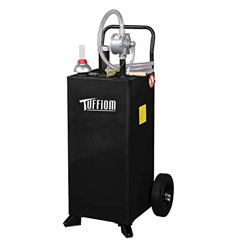 TUFFIOM 30 Gallon Portable Gas Caddy with Wheels, Fuel Transfer Gasoline Tank Reversible Rotary Hand Siphon Pump, Fuel Storage Tank for Automobiles ATV Car Mowers Tractors (Black)