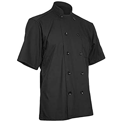Short Sleeve Chef Coat with Mesh Back (Black, M)