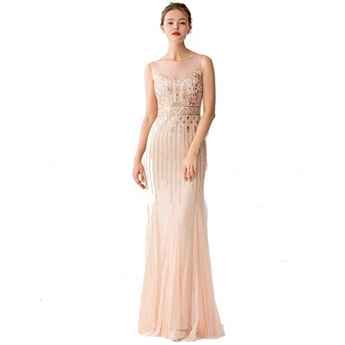 FF Adult mesh elegante bruidsmeisjesjurk ronde hals rugloos high-end jurk Slim mesh jurk