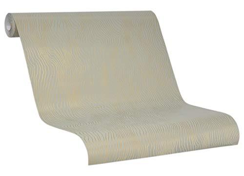 Tapete Gold Grün - Vliestapete Duna - 2020 SCHÖNER WOHNEN Kollektion - für Schlafzimmer, Wohnzimmer oder Küche - 10,05m x 0,53m Streifen, Wellen, Gewellt - Neu