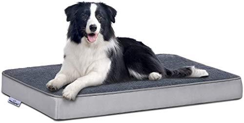 Focuspet Cama Perro Ortopédica, Cama para Perros Colchoneta de Espuma Viscoelástica para Mascotas con Funda Extraíble y Lavable para Perros, Incluye Juguete para Masticar,Tamaño M:74x46x7.5cm