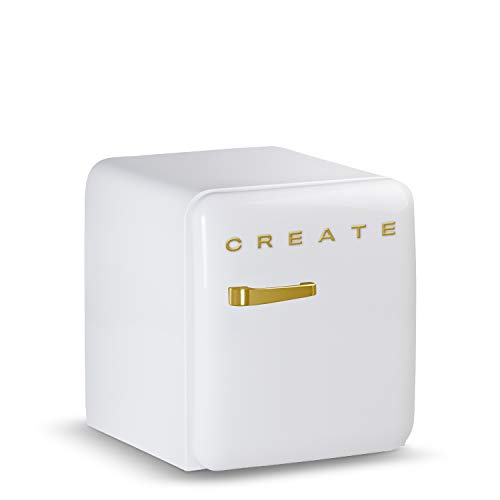 CREATE Retro Fridge GOLD- Frigorífico con diseño, Control de Temperatura Ajustable, Estética Vintage, Clase Energética A+ (Blanco, 50 cm)
