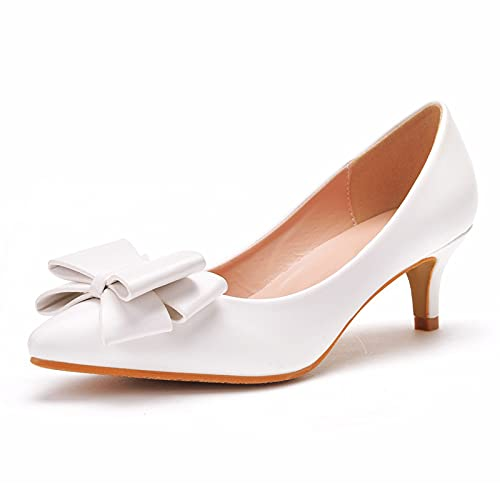 Zapatos De Novia Para Mujer,Tacones Altos Puntiagudos,Boca Poco Profunda 5 Cm Nupcial...