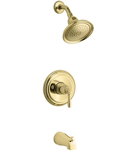 KOHLER TS395-4-PB, Polished Brass Devonshire Rite-Temp bath and shower valve trim with lever handle, NPT spout and 2.5 gpm showerhead