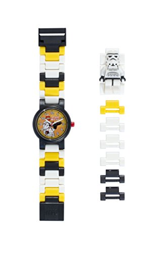 Lego Star Wars 8020424 Stormtrooper Minifigure Link Watch | Black/White | Plastic | 25mm case Diameter | Analog Quartz | boy Girl | Official