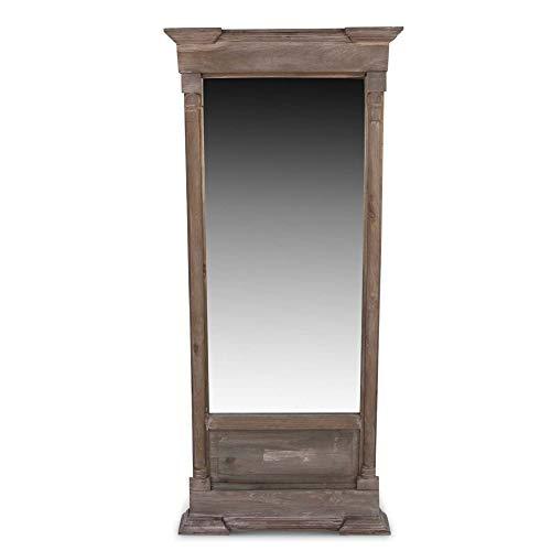 Grand Miroir Ancien Rectangulaire Vertical Bois 59x11x136cm - Marron - Décoration d'Autrefois