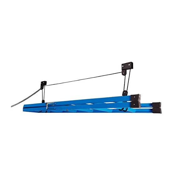 RAD Sportz Kayak Hoist Set – Overhead Pulley System with 125 lb Capacity for Kayaks, Canoes, Bikes, or Ladder Storage (2… 5 SET OF 2 CEILING HOISTS – The set of 2 storage hoists are ideal for keeping your kayaks, canoes, bikes, or ladders suspended overhead for convenient out of the way storage in your garage or shed PULLEY SYSTEM – The hoists utilize a pulley system with a safety locking mechanism that makes it easy to lift and safely store equipment up to 125-pounds RUBBER COATED HOOKS – The hooks are designed with a rubber coating to protect your kayak or canoe from scratches