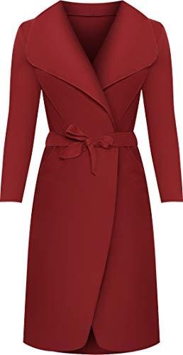 WearAll - Lange Gürtel Taschen öffnen Coat Damen Promi Wasserfall Jacke Cape - Wein - 44-50