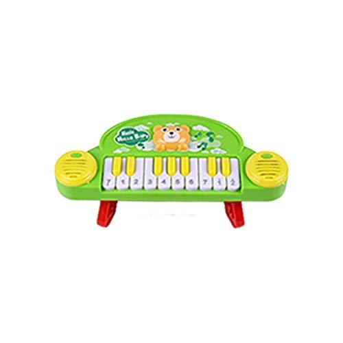 Bascar Teclado de piano para niños, multifunción, juguete electrónico, ABS, 24 x 7 x 10 cm, color verde