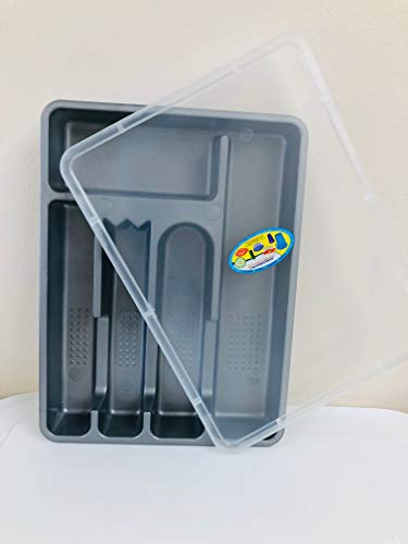 SILVERWARE DRAWER TRAY W/LID-CLOSES TIGHTLY-FLATWARE STORAGE TRAY W/COVER-CUTLERY-SILVER