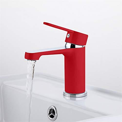 HNBMC Grifo Mezclador para Lavabo con Pintura en Aerosol roja, Grifo Mezclador para Lavabo Tradicional, Grifo Mezclador de latón para Lavabo de Agua fría y Caliente