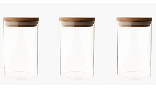 UH Choice Schöne 3 Stück Vorratsgläser Set (gleich groß), Vorratsdosen Glas-Behäler Einweck-Glas Glass Jars aus Borosilikatglas mit Bambus Lid, D 9,6 cm, H 16 cm, 1L