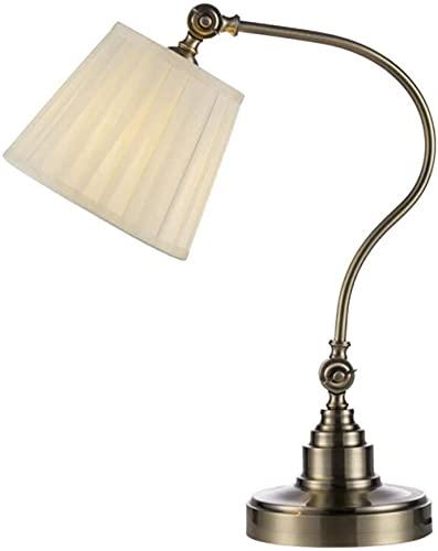 Lámpara de oficina lámparas de oficina sala de estar decoración rústica dormitorio de noche luz tela sombra metal retro decoración