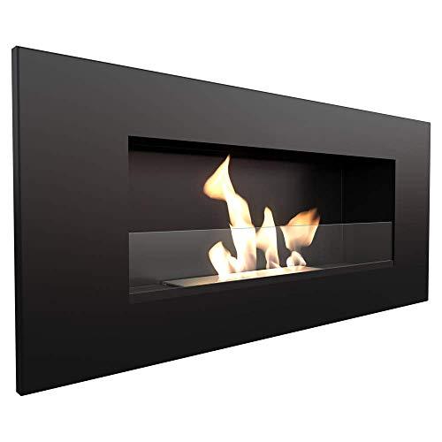 KRATKI biocamino DELTA2 400 x 900 cm Contenitore da 0,5L Nero Camino bioetanolo da parete con vetri spessore vetro 4 mm
