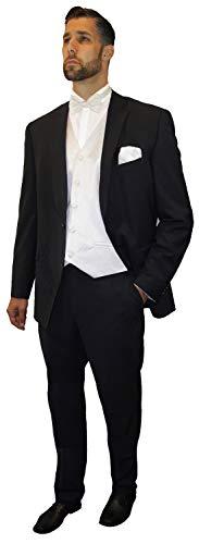 Paul Malone Anzug Hochzeitsmode Set 7tlg -Stretch- für Bräutigam Hochzeitsanzug schwarz Schattenstreifen + Fliegen Hochzeitswesten Set Elfenbein + Hochzeitshemd weiß