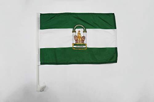 AZ FLAG Bandera de Coche de ANDALUCÍA 45x30cm - BANDERINA para Auto ANDALUZA 30 x 45 cm