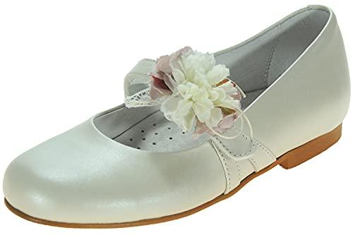 KILLOS Zapato de Comunión y Vestir en Piel para Niña. Lazo Desmontable Extraible de Quita y Pon BEIG Talla 36