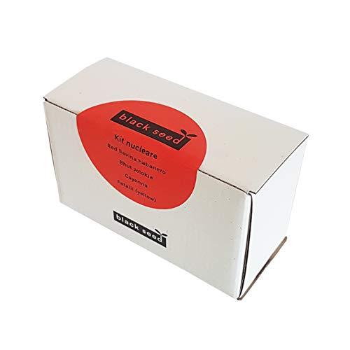 BLACK SEED - KIT NUCLEARE - Kit di Semi Sostenibile - Idea Regalo contenente 4 varietà Super Piccanti: Red Savina Habanero, Bhut Jolokia (Ghost Pepper), Peperoncino di Cayenna, Fatalii (Yellow)