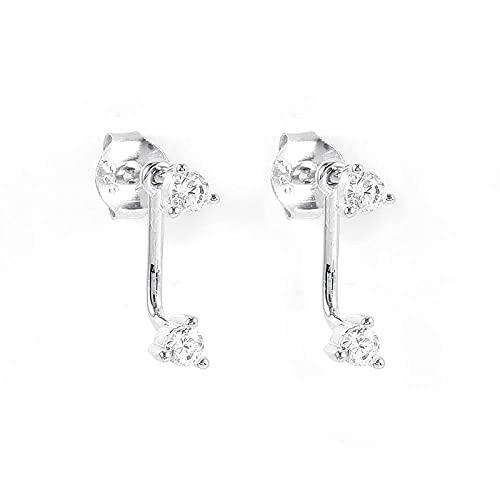 XQAQW S925 Pendiente de Plata esterlina para Hombres y Mujeres Zirconia cúbico joyería cartílago en Forma de C perforación Real -4