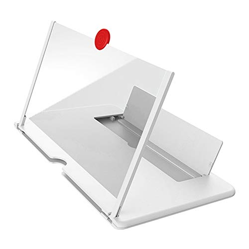 YASE-king 12 inch 3D Mobile Phone Screen Magnifier HD Video Amplifier with Foldable Holder Magnifying Glass Smart Phone Stand Bracket (Color : White, Size : 12 inch)