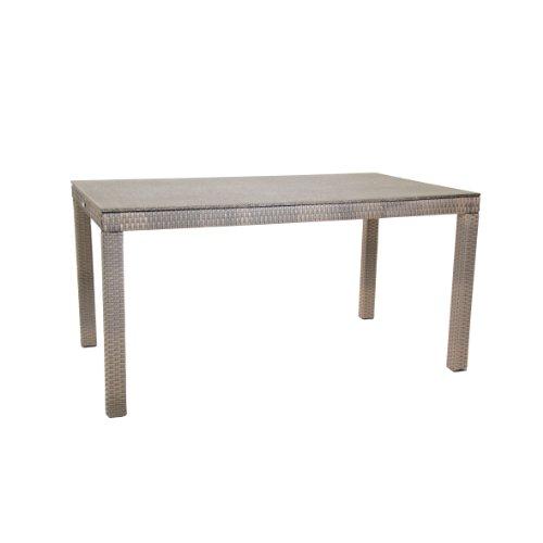 greemotion Tisch Manila Spraystone grau, für den Innen- und Außenbereich, Gartentisch mit Höhenverstellbaren Füßen, Tischplatte in Steinoptik ,wetter- und witterungsfestes Polyethylengeflecht, besonders pflegeleicht, Maße ca. 140 x 80 x 74 cm