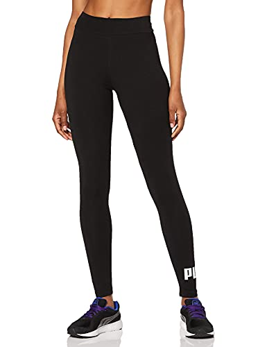 PUMA ESS Logo Leggings Pants, Mujer, Cotton Black, L