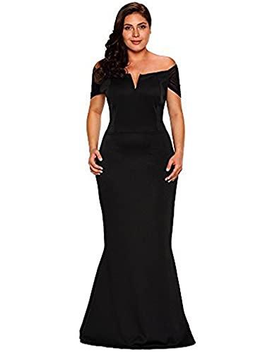 LALAGEN Women's Plus Size Off Shoulder Long Formal Party Dress Evening Gown Size XXL Black