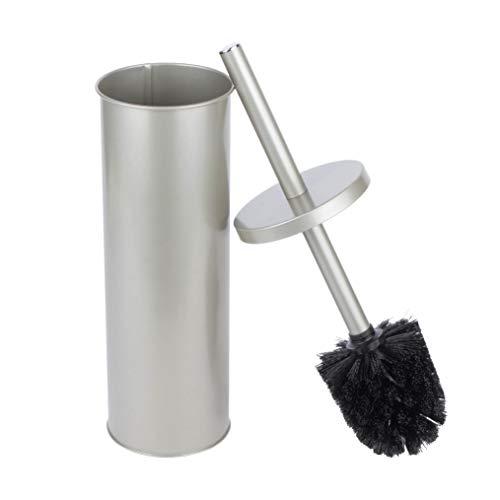 JS Jackson Supplies Sleek Toilet Brush and Holder with Metal Handle - Brushed Nickel