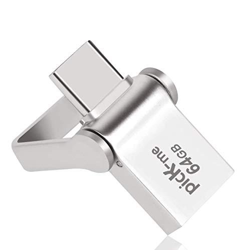 picK-me Chiavetta USB 3.0 + USB C OTG, 2 in 1 Pendrive Flash Drive Memory Stick Pennette USB per Samsung/PC/Laptop Regali d'Affari (64GB)