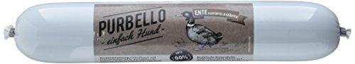 PURBELLO Hundewurst Ente - 8 x 400 g - Monoprotein Hundefutter mit hohem Fleischanteil - Nassfutter für Hunde - Schnittfest & Getreidefrei (3,2 gk)