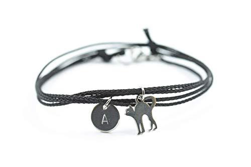 Armband Katze Gravur Buchstabe schwarz Haustier Cat personalisiert
