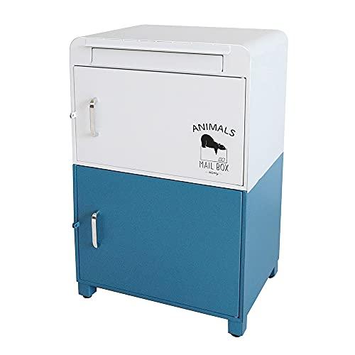ヤマソロ 郵便ポスト 宅配ボックス 置き型ポスト スタンドポスト 宅配ボックス付きポスト Lunon ルノン (ブルー)