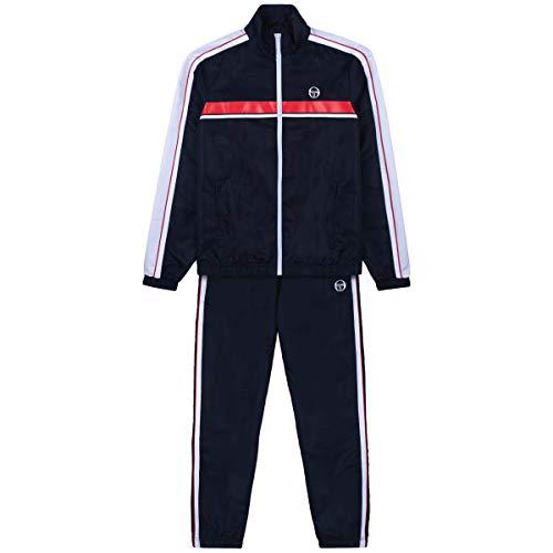 Sergio Tacchini Herren Trainingsanzug Agave Tracksuit Taschen mit Reißverschluss, Night Sky/ Tango Red, L