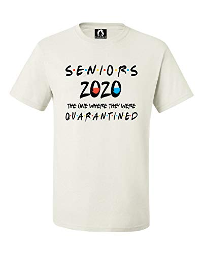 Squatch King Threads Medium White Adult Seniors 2020 The One Where They were Quarantined T-Shirt