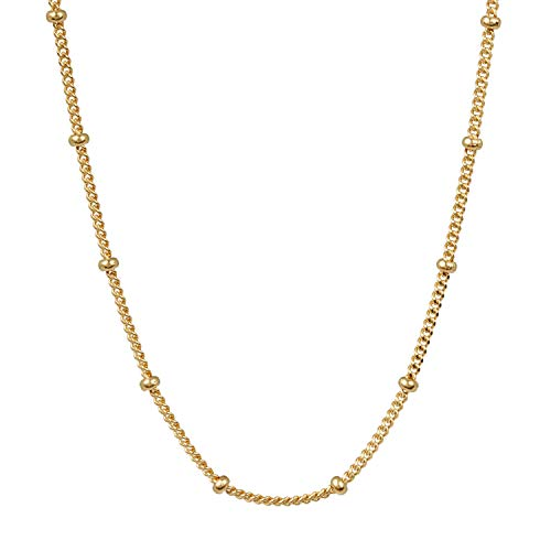 Pernille Corydon Kette Damen Gold mit Mini Perlen - Zarte Elegante Halskette Solar Necklace Silber 925 Vergoldet - 45 cm - N696g