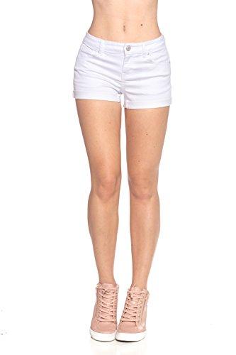 Calilogo Women's Fashion Denim Jean Stretchy Shorts (Small, White 1)