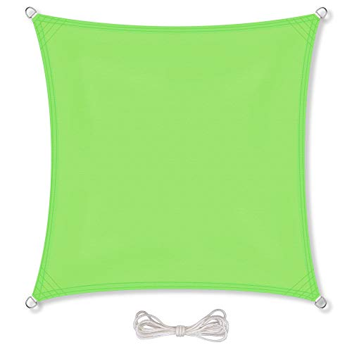 CelinaSun Sonnensegel inkl Befestigungsseile PES Polyester wasserabweisend imprägniert Quadrat 3,6 x 3,6 m grün