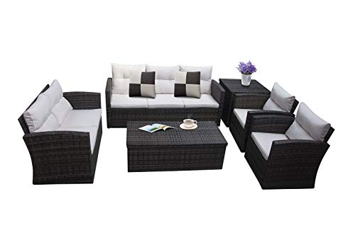 RICHSEAT 6 Piece 7 Seats Outdoor Patio Furniture Conversation Sets PE Rattan Wicker Sectional Sofa Loveseat Chair Seating Group with Cushions and Storage Table