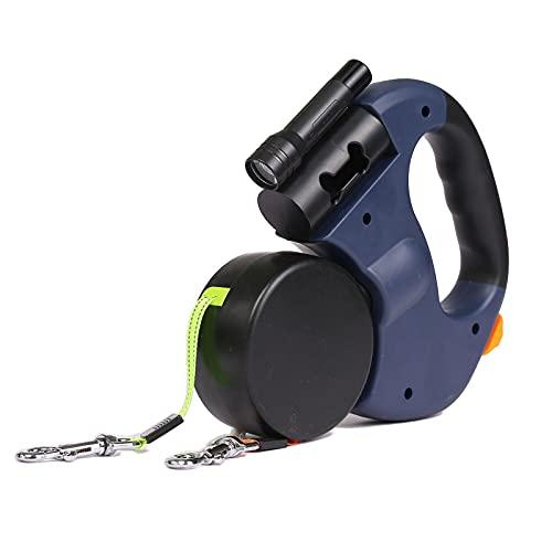 Tabpole Einziehbare Hundeleine, Nylonband, Hundeleine für mittelgroße und große Hunde, mit Taschenlampe, 360 ° verhedderungsfreie Hundeleine